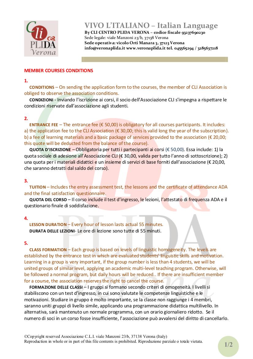 Regolamento studenti CLI italianoinglese 2013 01