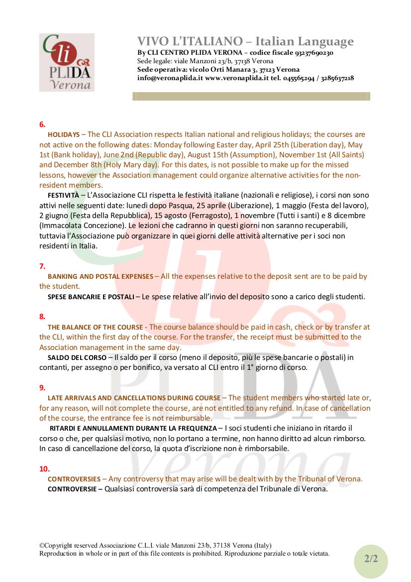Regolamento studenti CLI italianoinglese 2013 02